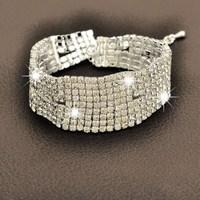 Top Quality!Trendy 925 Sterling Silver Woman Bangle SWA Element Austrian Crystal Chain Bracelet Bridal Wedding Jewelry