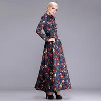 women work wear new  autumn winter super long vintage style knitted flowers print plus size xxl xxxl casual long maxi dress