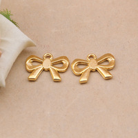 Free Shipping 24K Gold Plated bow Charms,10pcs/lot DIY bow-knot charms,Charms for jewelry making XBL719