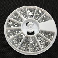 3 Sizes Silver Acrylic Rhinestones Nail Art UV Gel Tips Deco Wheel 3 ,2, 1.5mm