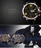 Men Black Stainless Steel Luxury Sport Quartz Clock Wrist Watch Big Dial White\Orange\Yellow\Blue