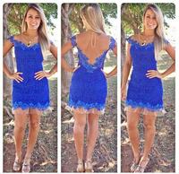 New Women Dress 2014 Sexy Voile Lace vestidos Short Sleeve dresses Plus Size S-XL