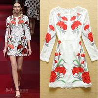 2015 fashion lace embroidered elegant long-sleeve vintage plus size one-piece dress