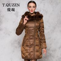 Women's slim down coat with a hood fox fur medium-long winter