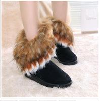 new hot Winter cow imitation fox fur snow boots women flat shoes fashion cotton women warm winter shoes free shipping H0971
