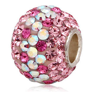 Christmas Gifts 925 Sterling Silver beads for women fit pandora bracelets Necklaces Charms Pink Crystal Jewelry