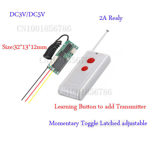 wireless remote control Remote Switch 3v 5v DC 10A Relay Receiver + Long Range Transmitter 50-1000m Power Switch 315/433(China (Mainland))