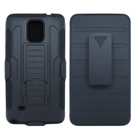 Dual Layer 3PC Hybrid Belt Clip Holster Rubber Combo Case With Kickstand Cover For Samsung Galaxy Note 4 Via Free Ship
