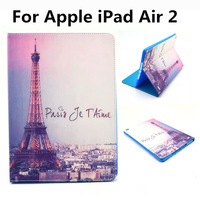 For Apple iPad Air 2 Case Owl Keep Calm Flower Eiffel Tower Folio PU Smart Leather Case Cover With Stand Holder For iPad 6