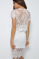 Beauty online New Sexy 2014 Autumn Dresses Party Dresses Fashion Sexy White Floral Lace Mini Dress Set  LC21780