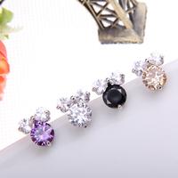 Cute girls jewelry CZ diamond bowknot stud earrings real white gold Top Quality Austria crystal Earrings set handmade