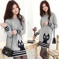 Fall and winter clothes new sweet wild cat round neck T-shirt in a long sweater thick sweater female backing