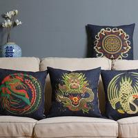 NEW! Blue retro modern Creative dragon pillow cushion cover Bird Linen pillowcases cushions Pillow HOME Decorate sofa cushions
