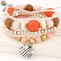 2014 Newest  Wholesale Unisex Multilayer Fashion Unique Bangle Bracelets With Small Pendant Charm Bracelets  [CN91547]