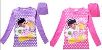free shipping Doc Mcstuffins girl T Shirts cotton Shirts 2-8 yrs  purple pink
