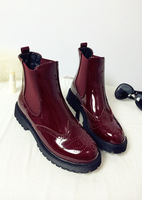 2014 Fall Street Style Wine Red Round Toe Patent Leather Martin Boots Platform Square Heel Elastic Band Women Ankle Boots