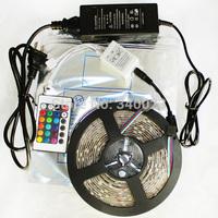 5M RGB led Strip 5050 SMD 60led/m Flexible Waterproof + 24key Remote + 12V Transformer For Christmas Decoration, 5050K