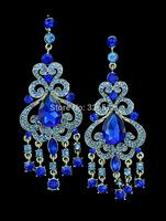 2014 Luxury Brand Chandelier Blue Crystal Rhinestone Tassel Silver Earrings Bridal Long Drop Earrings for Women Wedding Jewelry