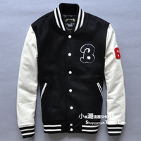 Lovers design stand collar slim short woolen patchwork design cowhide genuine leather clothing male baseball uniform jacket