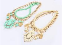 2014 new High quality European fashion star joker new fashion street snap big droplets flower necklace  Free shipping