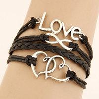 2015 Girls Christmas gift Multilayer Bracelet Personality Letter Love Eight Double heart  Bracelet for women wholesale Z&E2085