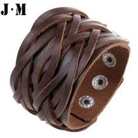 Handmade European vintage punk style genuine leather Black white brown wristband, bracelets for men women, free size bangles