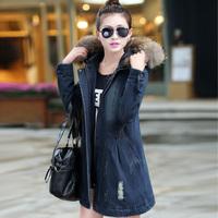 Denim wadded jacket 2014 winter thickening women's medium-long fur collar with a hood cotton-padded jacket outerwear