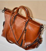 2014 Winter New Fashion Women Genuine Leather Handbags Quality Oil Wax Leather Tote Casual Large Capacity Shopper Purse Bolsas
