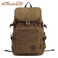 Kaukko High Quality Men's Vintage Canvas Backpack Rucksack Laptop Shoulder Travel Camping Bag Japan and Korean Style School Bag