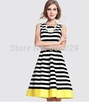 Free Shipping Cute Sleeveless Knee-Length Tank A-Line Dress Women Fashion Slim Waist Sweet Dresses Contrast Colors Striped S-XXL