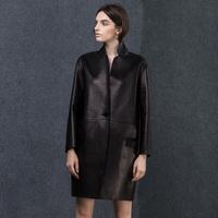 Autumn stand collar straight one button sheepskin genuine leather clothing female medium-long