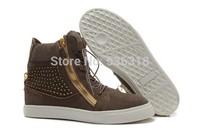 GZ origianl punk genuine leather height increasing tan Golden diamond zipper men and women lovers sneakers,EUR35-46,brand shoes