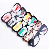 5Pcs/Lot Fashion vintage leopard print glasses male non-mainstream plate rack eyes big black plain mirror