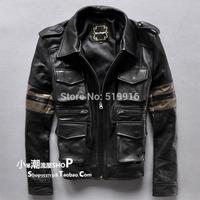 Male fashion turn-down collar multi-pocket cowhide short slim design genuine leather jacket clothing