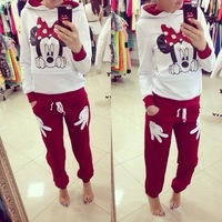 New Arrived Cute Pullover 2 pc sportwear Sport Suit women hoody Bow Mouse With Cap Clothing sets S M L