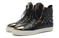 GZ origianl punk genuine leather Sports rivets hot drilling sheepskin men and women lovers sneakers,EUR 35-45,brand tenis shoes