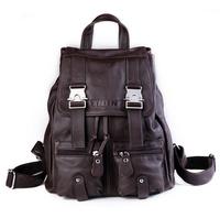 Vintage Real Leather Women's Espresso Travel Backpack Bookbag Schoolbag Hiking Bag Genuine leather backpacks laptop bags