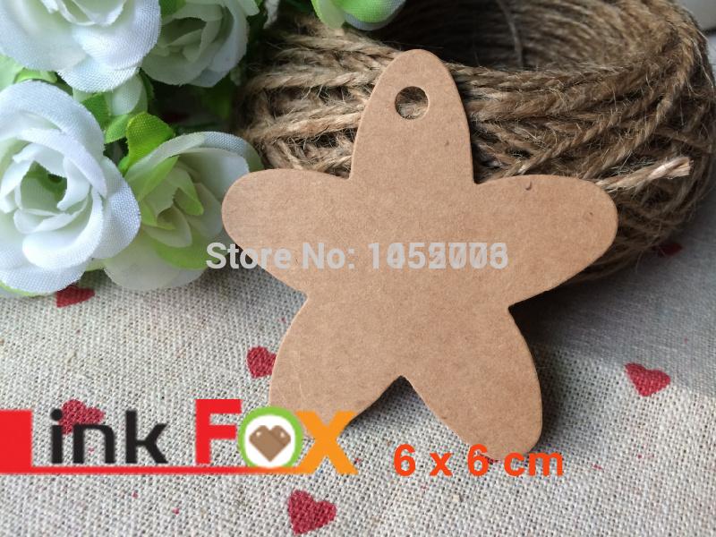 "1lot = 50pcs 2.3""x2.3"" DIY Scrapbooking Star Paper Kraft Blank Hang Tags Crafts Postcards Wedding Tag Price tag Decoration Tag(China (Mainland))"