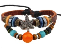 Hot Sale Fashion Charm Crystal Alloy Maple Leaves and Wooden Bead Braided Leather Bracelet Wrap Jewelry