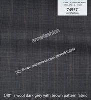 2015-Free shipping four season 140's wool dark grey with brown pattern fabric