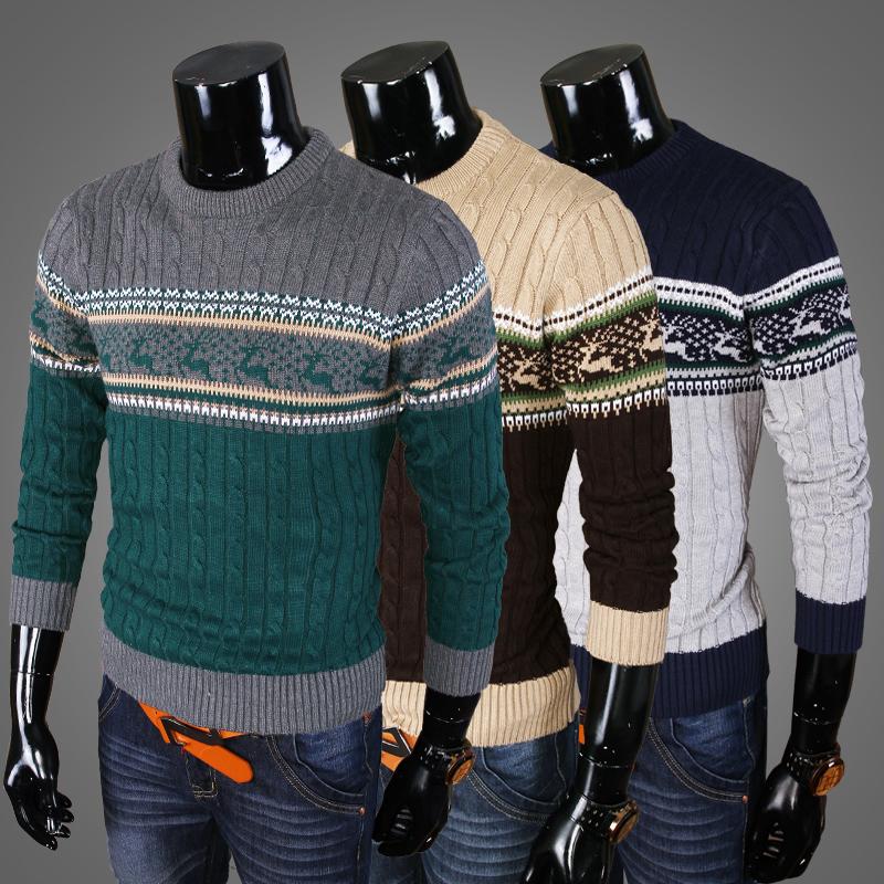 персонализированные мужчин палевый свитер вокруг шеи
