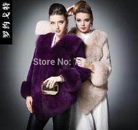 Fox fur coat medium-long full leather rex rabbit hair fur
