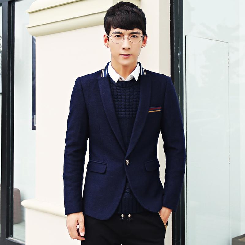 down jacket Male wool blazer suit male slim outerwear autumn and winter blazer male coat jacket