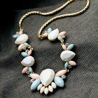 Cute Shourouk Ethnic Resin Gem Gold Chain Choker Statement Necklaces & Pendants New 2014 Fashion Jewelry Women Wholesale N190
