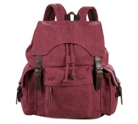 9017P Canvas and leather Lady&Man Trendy Backpack Bag Pink color