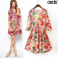 2014 new winter fashion style super beautiful flower garden backing tunic dress WQZ15328