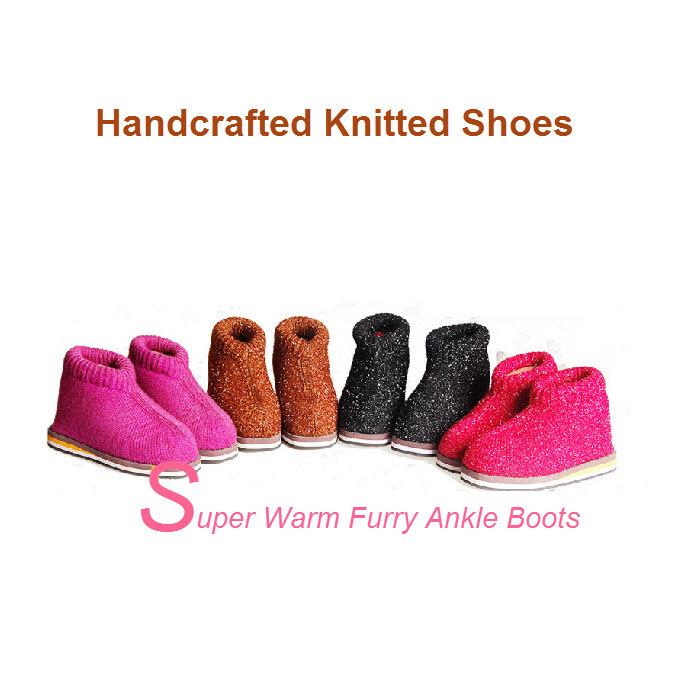 Sapatos feitos à mão - de meia-idade / idosos do inverno plana leve quente peludo Slip on Ankle Boots de malha para o velho homens e mulheres(China (Mainland))