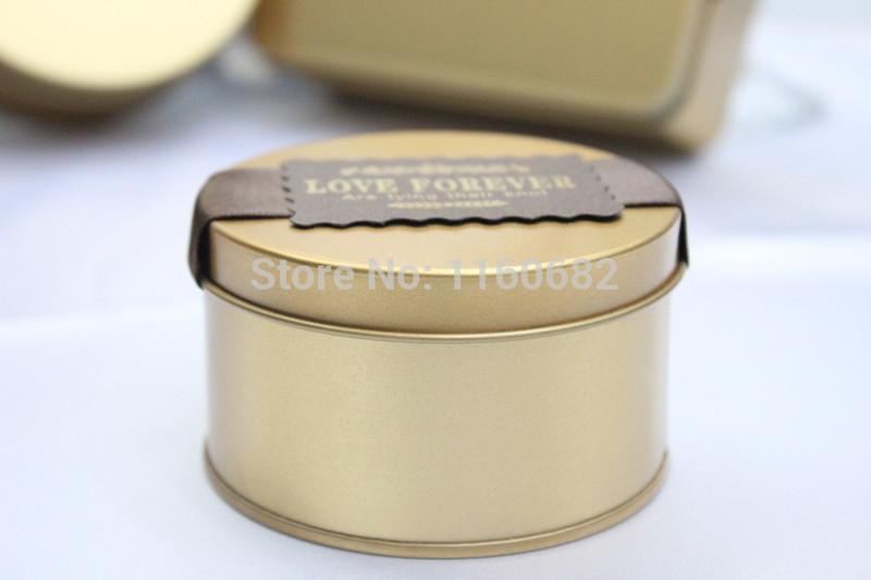 7.5x4.5cm Lovely round Champagne gold tin box/tea box or jewelry box gift box(China (Mainland))