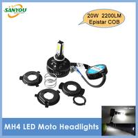 2014 New 20W 2200LM 4Pcs Epistar COB Chip H4 Led Headlight Driving Headlamp Moto Lights Led Motorcycle Bulbs