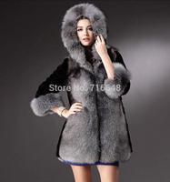 Fox fur coat medium-long hooded 2014 rex rabbit hair fur